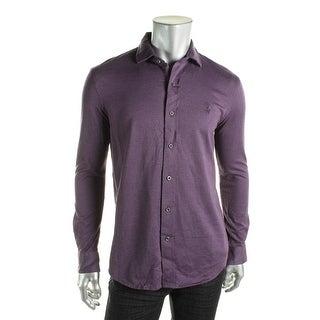 Polo Ralph Lauren Mens Button-Down Shirt Knit Heathered