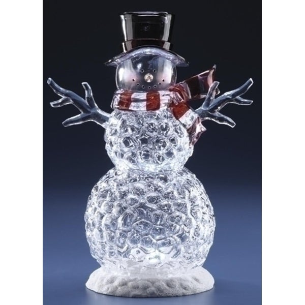 """14"""" Icy Crystal Battery Operated Clear LED Lighted Snowman Christmas Figure"""