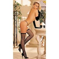 Basic Fishnet Thigh High Stockings, Fish Net Stockings - Black - One Size Fits most