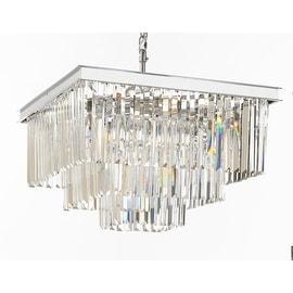 Retro Odeon Crystal Glass Fringe 3 Tier Chandelier Silver Chrome