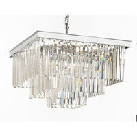 Retro Odeon Crystal Glass Fringe 3 Tier Chandelier Silver Chrome