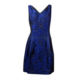 Lauren Ralph Lauren Women's V-Neck Jacquard A-Line Dress - Navy/Black