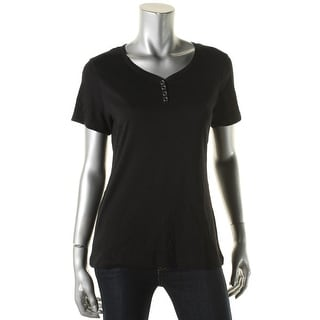 Karen Scott Womens Henley Top Cotton V-Neck