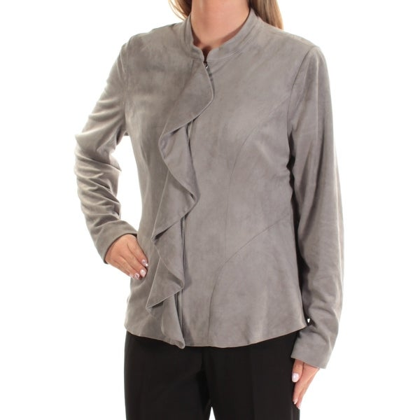 ALFANI Womens Gray Ruffled Zip Up Jacket Size: L