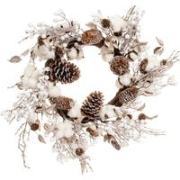 "Cotton & Cone Wreath 24""-"