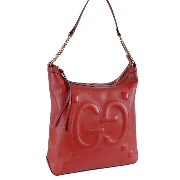 e7e35f25d Gucci Women's 453562 Red Leather GG Original Apollo Hobo Purse Handbag