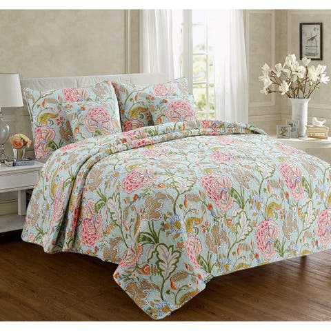Cozy Line Aregada Floral Cotton 3-piece Reversible Quilt Set