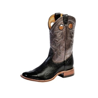 Boulet Western Boot Men Cowboy Stockman Black Taurus Organza Gray 9033