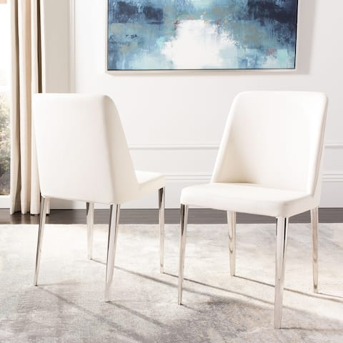 "Safavieh Mid Century Dining Baltic White Dining Chairs (Set of 2) - 22.5"" x 17.8"" x 34.8"""