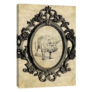 """PTM Images 9-105876  PTM Canvas Collection 10"""" x 8"""" - """"Framed Pig"""" Giclee Pigs Art Print on Canvas"""