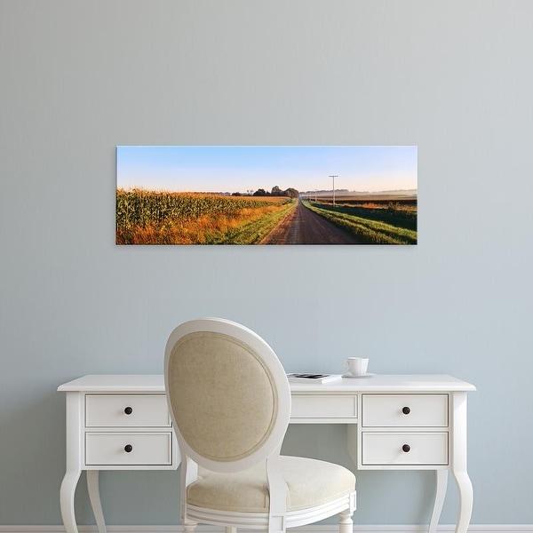 Easy Art Prints Panoramic Images's 'Road Along Rural Cornfield, Illinois, USA' Premium Canvas Art