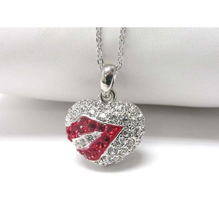 Whitegold Plating Crystal Stud Kissing Heart Pendant Necklace