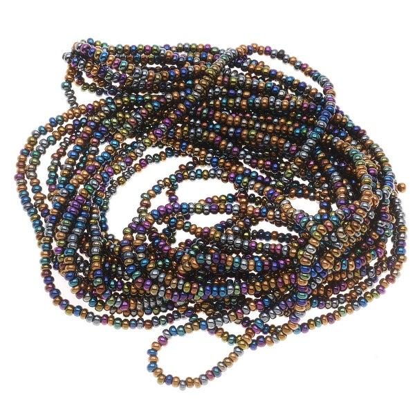 Czech Seed Beads Mix Lot 11/0 Heavy Metal Metallic Blue/Green/Purple 1/2 Hank