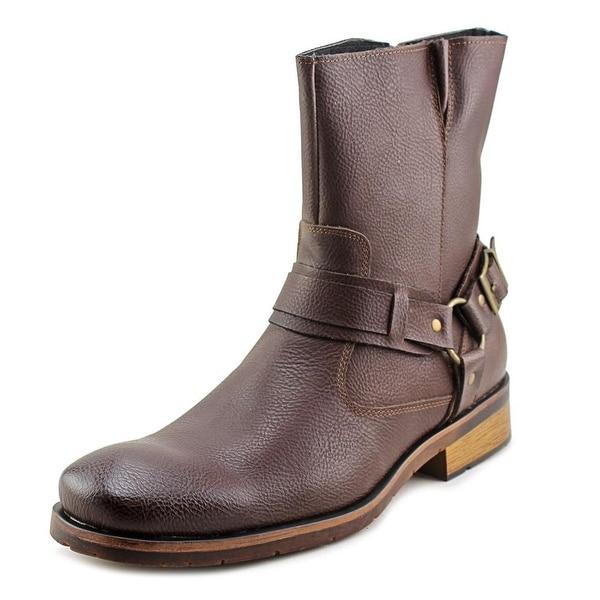 Robert Wayne Benjamin Men Square Toe Leather Brown Ankle Boot