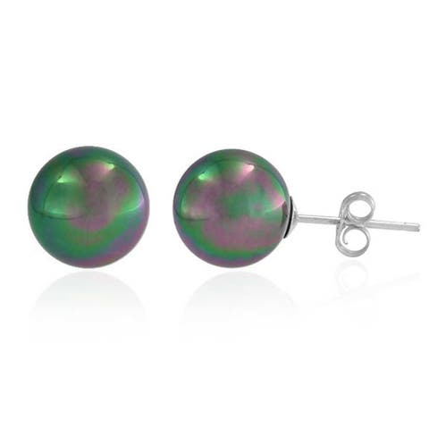 Black Rainbow Imitation Pearl CZ Ball Stud Earrings For Women 925 Sterling Silver 10MM