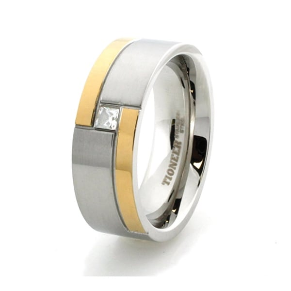 Two-Tone Stainless Steel Ring with CZ