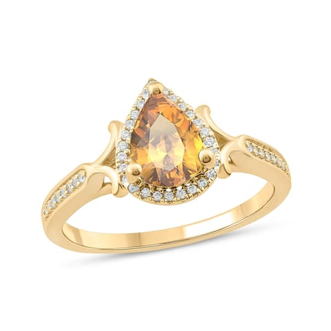Cali Trove 10KT Yellow Gold with 1/6 ct TDW & Citrine fashion ring.