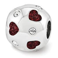 Sterling Silver Reflections Red Enameled with Swarovski Elements Hearts Bead (4mm Diameter Hole)