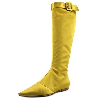 Roger Vivier Gigi Women Open-Toe Canvas Yellow Flats