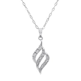 Amanda Rose Diamond Swirl Pendant in .925 Sterling Silver