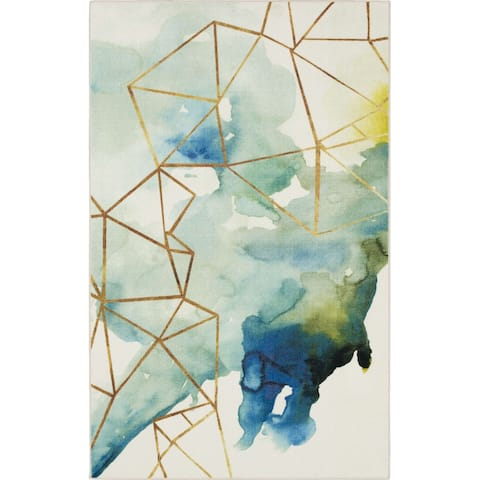 Mohawk Home Cognition Watercolor Abstract Geometric Area Rug