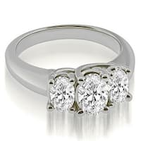1.75 cttw. 14K White Gold Three Stone Trellis Oval Cut Diamond Engagement Ring