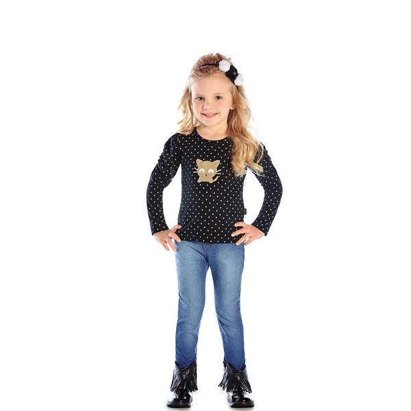 Toddler Girl Long Sleeve Shirt Kitty Graphic Tee Pulla Bulla 1-3 Years
