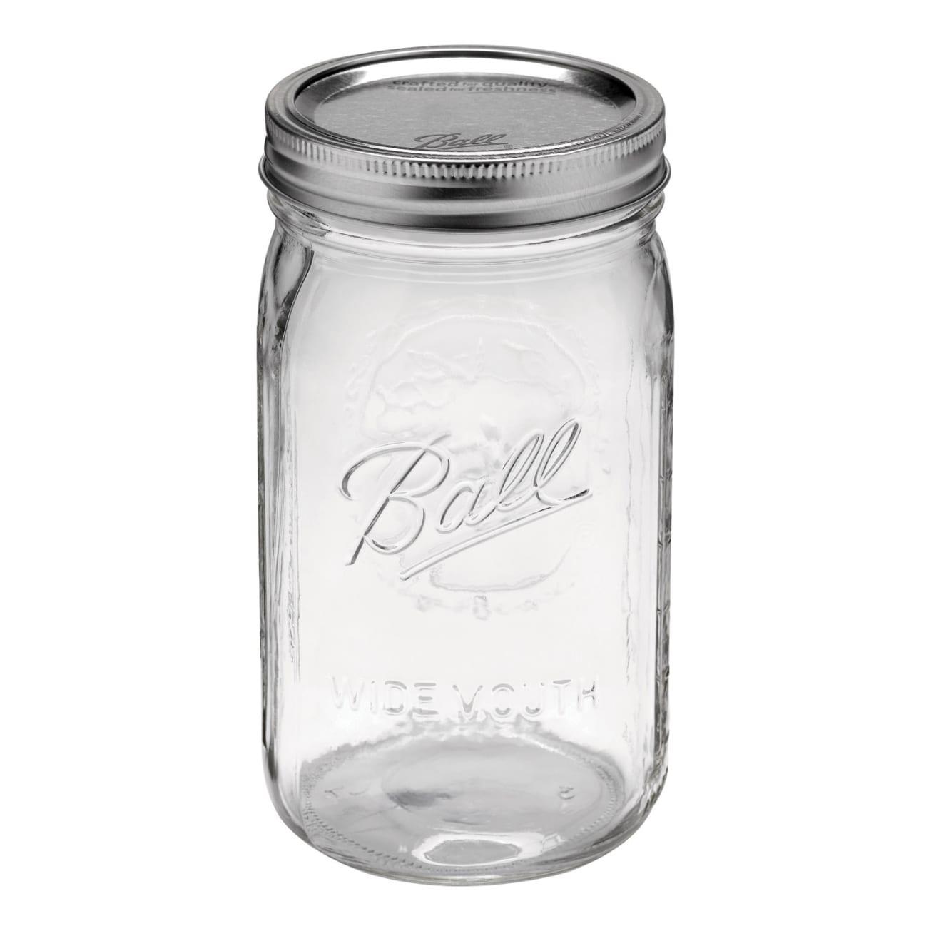 Ball 68100 Wide Mouth Mason Canning Jars Half Gallon 64 Oz 6 Count Set