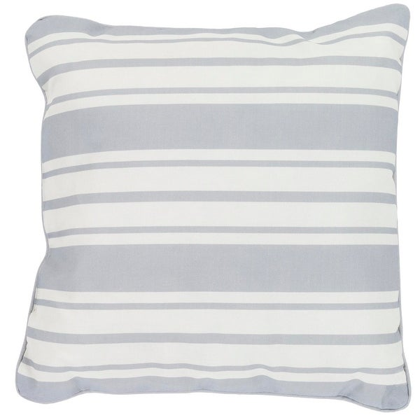 "20"" Striped In Color Solid Gray and Ivory White Decorative Throw Pillow"