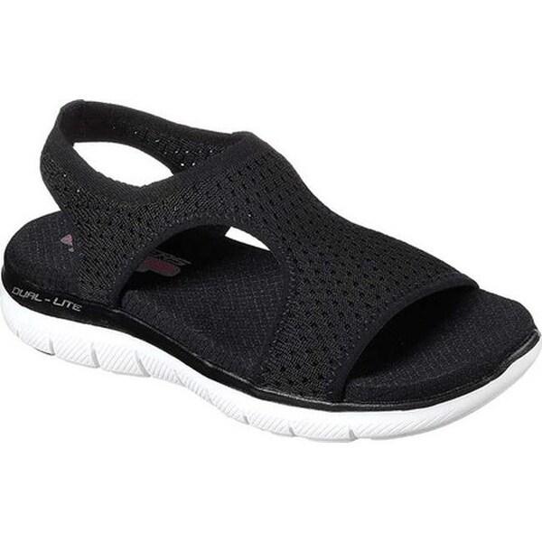 0039b1ffed77 Skechers Women  x27 s Flex Appeal 2.0 Deja Vu Slingback Sport Sandal Black