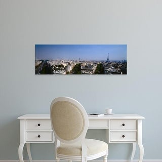 Easy Art Prints Panoramic Images's 'High angle view of a cityscape, Paris, France' Premium Canvas Art
