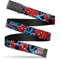 Blank Black  Buckle The Ultimate Spider Man Poses Spider web Black Web Belt