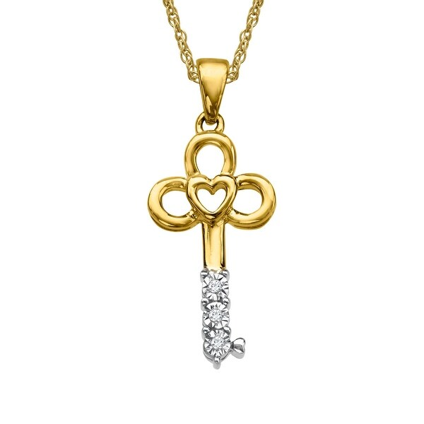 Heart Key Pendant with Diamond Accents in 10K Gold