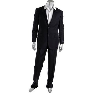 Hart Schaffner Marx Mens Wool Double Pleat Two-Button Suit - 40R