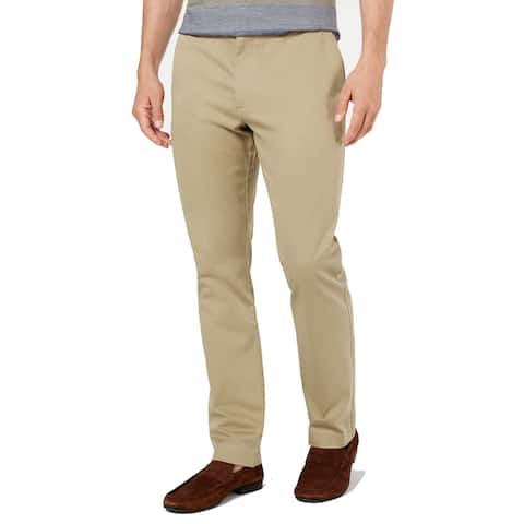 Tasso Elba Mens Pants Beige Size 40X30 Flat Front Solid Chino Stretch