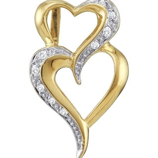 Twin Heart Pendant 10K Yellow-gold With Diamonds 0.03 Ctw By MidwestJewellery - White