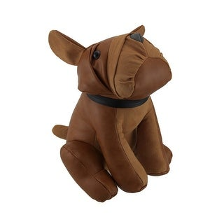 Adorable Sitting Bulldog Faux Leather Bean Bag Door Stop