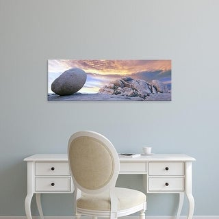 Easy Art Prints Panoramic Image 'Lone boulder in desert at sunrise, Joshua Tree National Park, California' Canvas Art