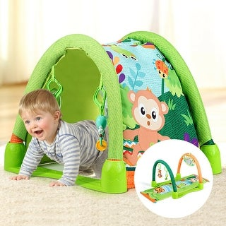 Gymax 4-in-1 Activity Play Mat Baby Activity Center w/3 Hanging Toys - Green