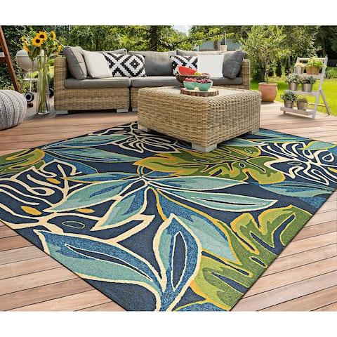 Miami Palms Blue-Deep Green Indoor/ Outdoor Area Rug