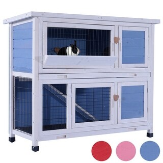 """MCombo 40"""" Sturdy Wooden Chicken Coop Rabbit Hutch Small Animal House Pet Cage 0323L"""