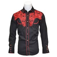 Men's Tooled Black Western Shirts with Red Embroidery