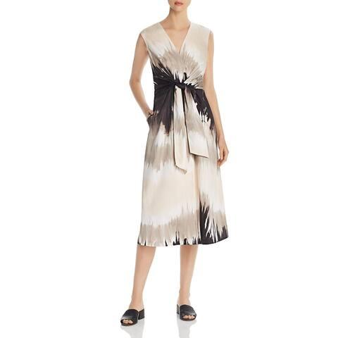 Lafayette 148 New York Womens Orielle Midi Dress Cotton Tie-Dye - Jute Multi
