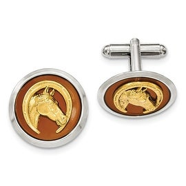 Silver and Goldtone brown Enamel Horse and Horseshoe Cuff Links