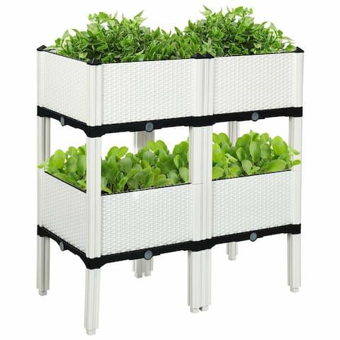 Set of 4 Elevated Flower Vegetable Herb Grow Planter Box - White