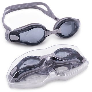 Clear Swimming Goggles with Case, Gray