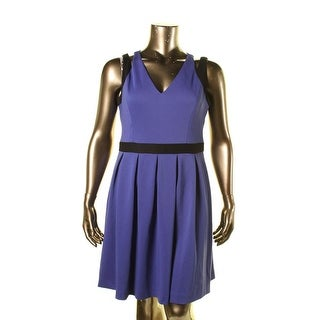 Jessica Simpson Womens Pleated Contrast Trim Casual Dress
