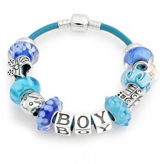 Bling Jewelry Its a Boy Mothers Leather Charm Bracelet 925 Silver
