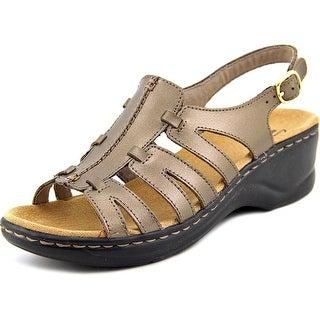 Clarks Lexi Marigold Q Women Square Toe Leather Gold Slingback Sandal