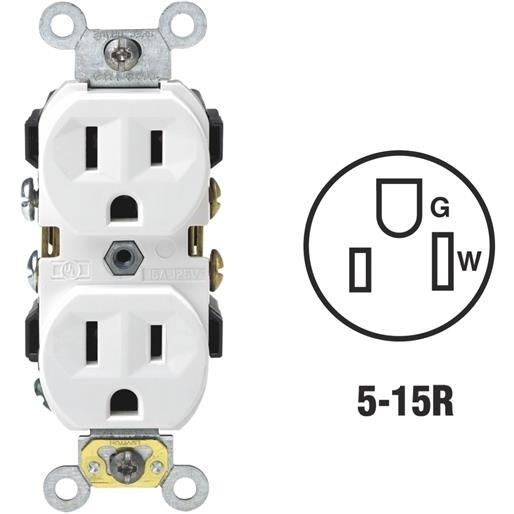 Leviton Wht Duplex Outlet S02-0CR15-0WS Unit: EACH